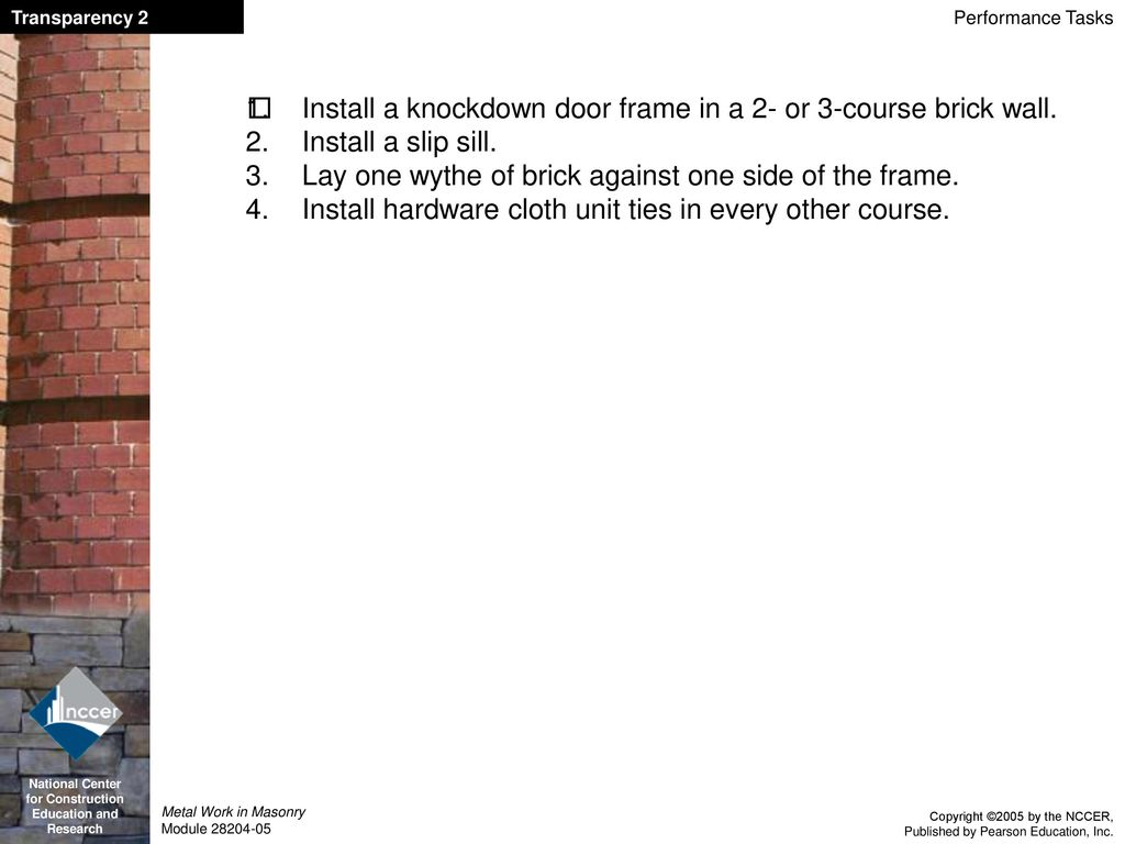 Metal Work in Masonry Module ppt download