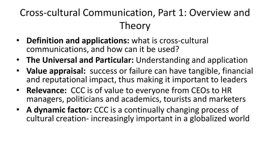 CROSS-CULTURAL COMMUNICATIONS CHRISTOPHER dELISO M6