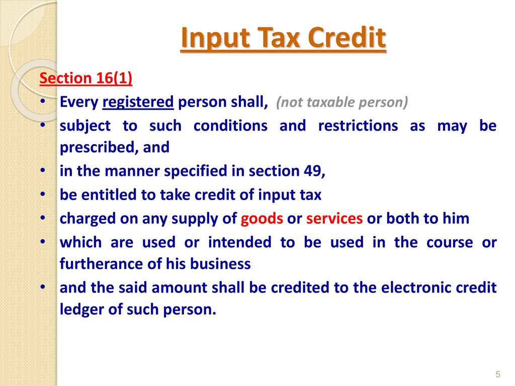 indian gst input tax credit - ppt download