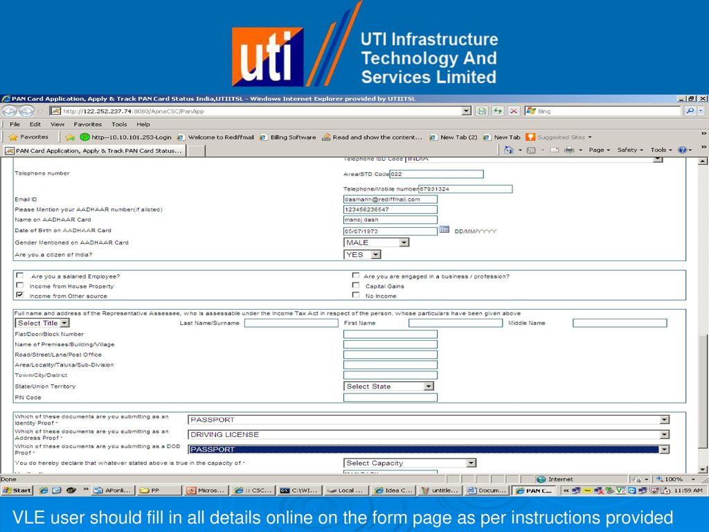 Pan online process by utiitsl a walkthrough ppt download 9 vle reheart Choice Image