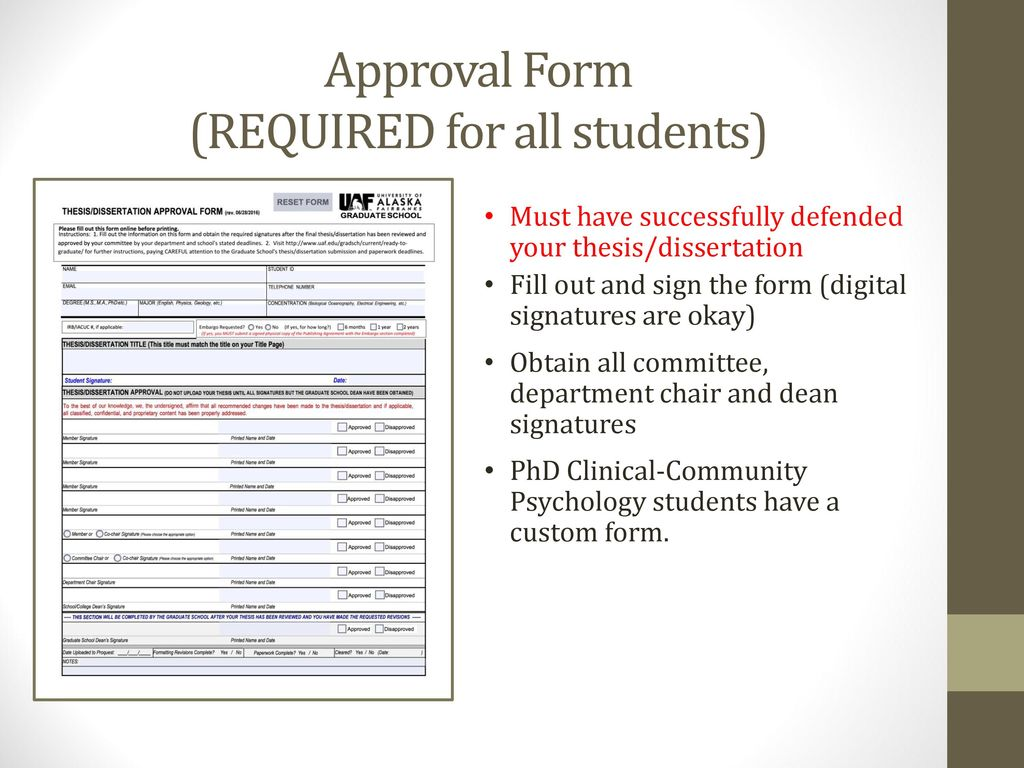 Guideline For Preparation Of Your Thesi Or Dissertation Ppt Video Online Download Usf Format