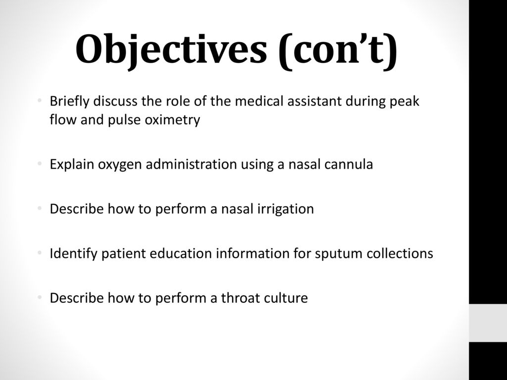 Objectives (con't) Briefly discuss the role of the medical assistant during  peak