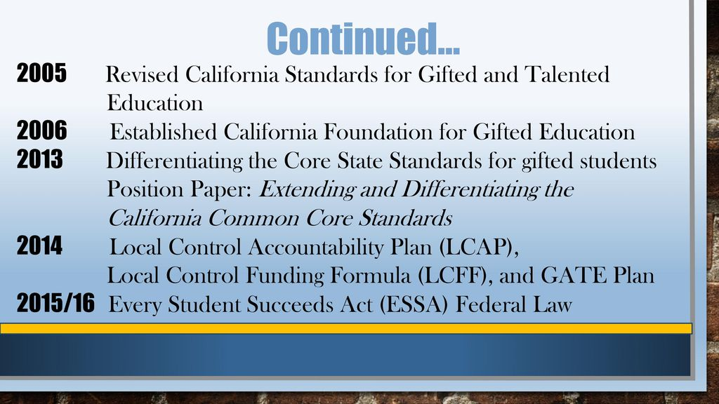 2005 Revised California Standards for Gifted and Talented