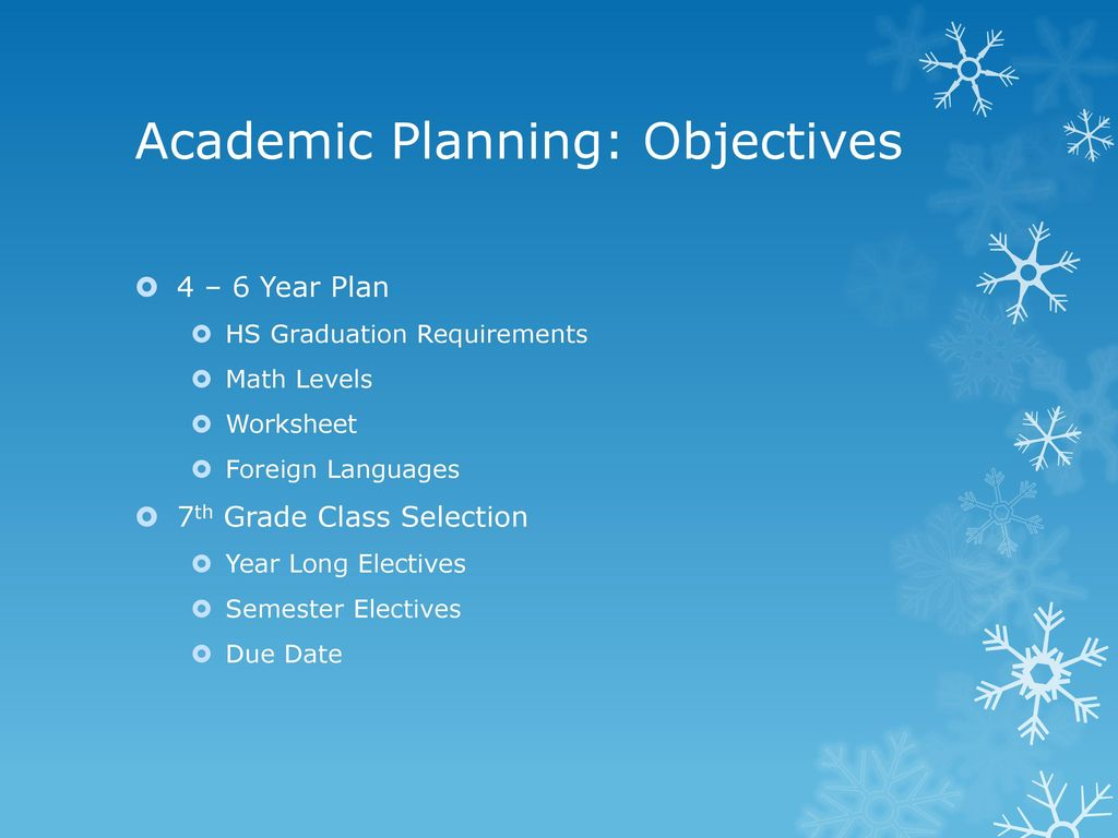 ACADEMIC PLANNING FOR SEVENTH GRADE - ppt download
