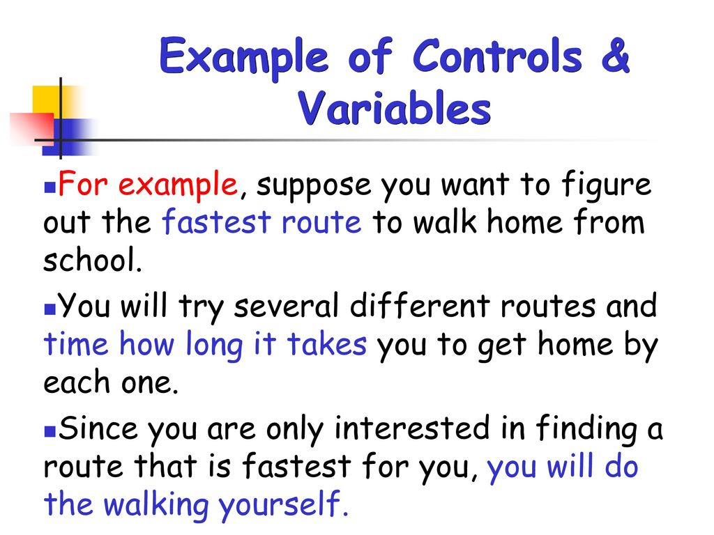 Example of Controls & Variables