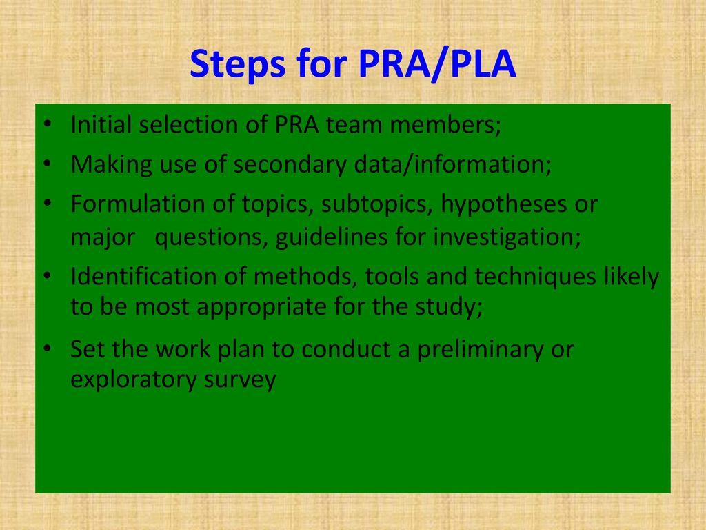 Participatory rural appraisal.