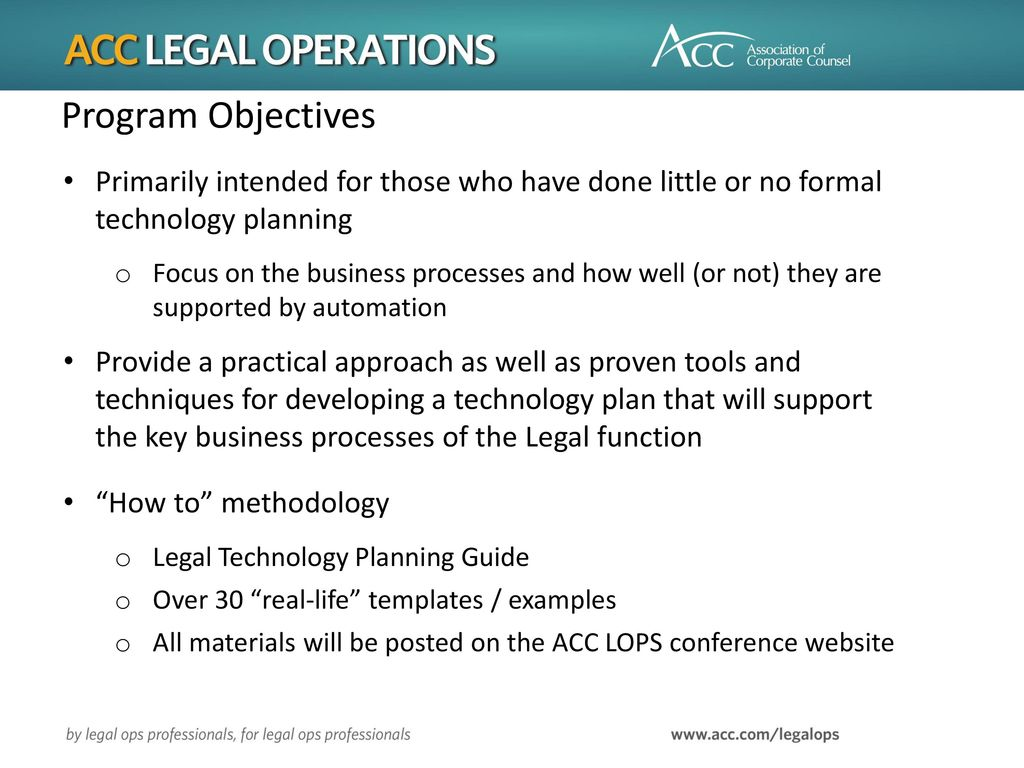 Program Objectives Primarily Intended For Those Who Have Done Little Or No Formal Technology Planning
