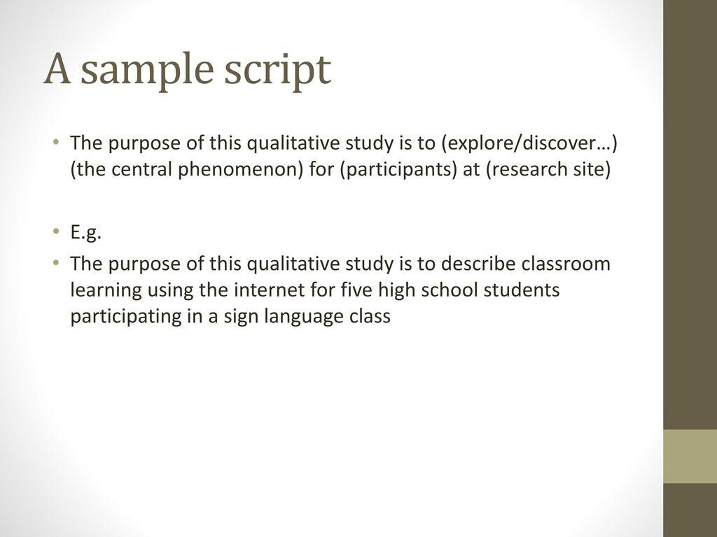 purpose of the study sample