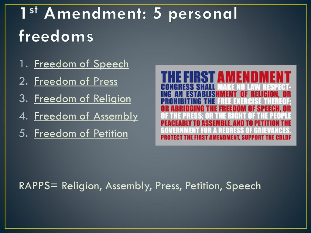 4 freedoms of the first amendment