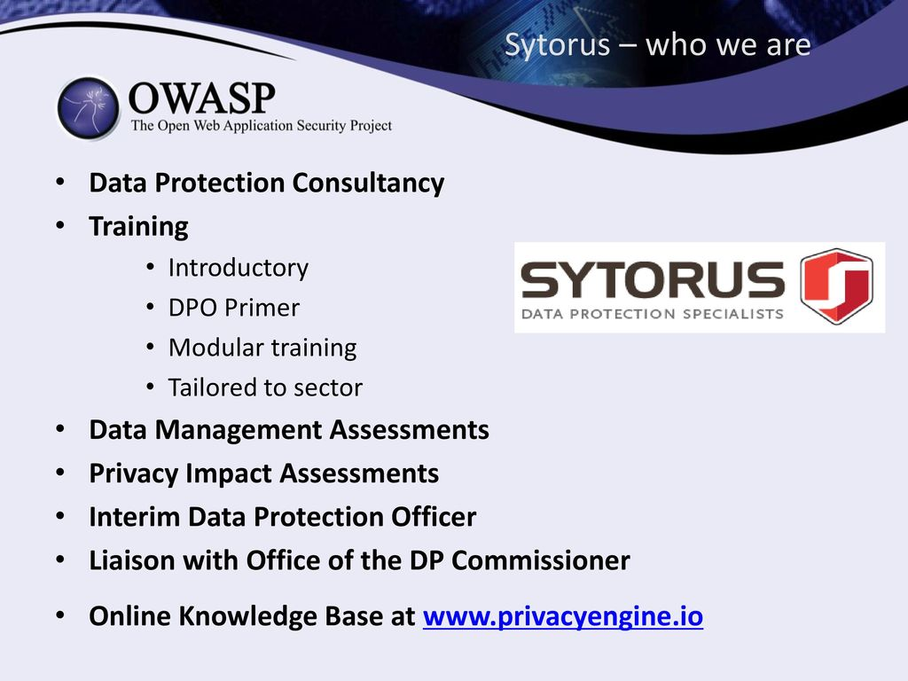 Data Protection Officers Overview Of The Gdpr Ppt Video Online Security Officer Sytorus Who We Are Consultancy Training