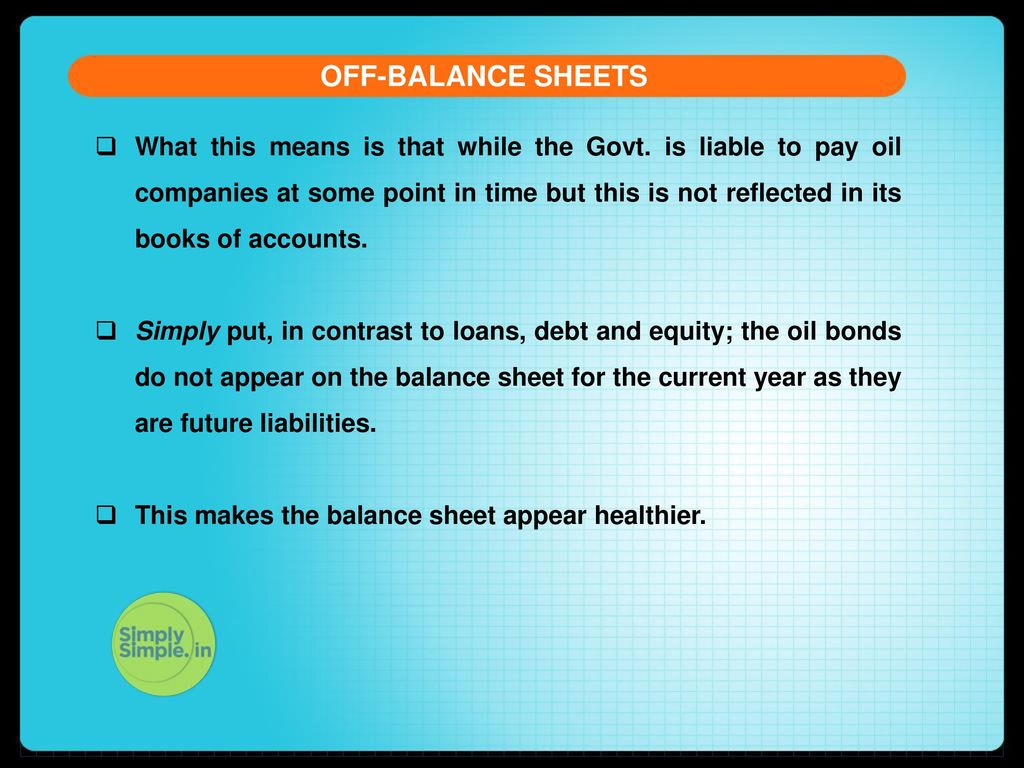 What are off-balance accounts