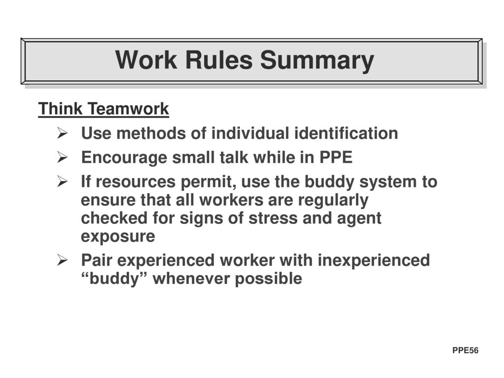 work rules summary