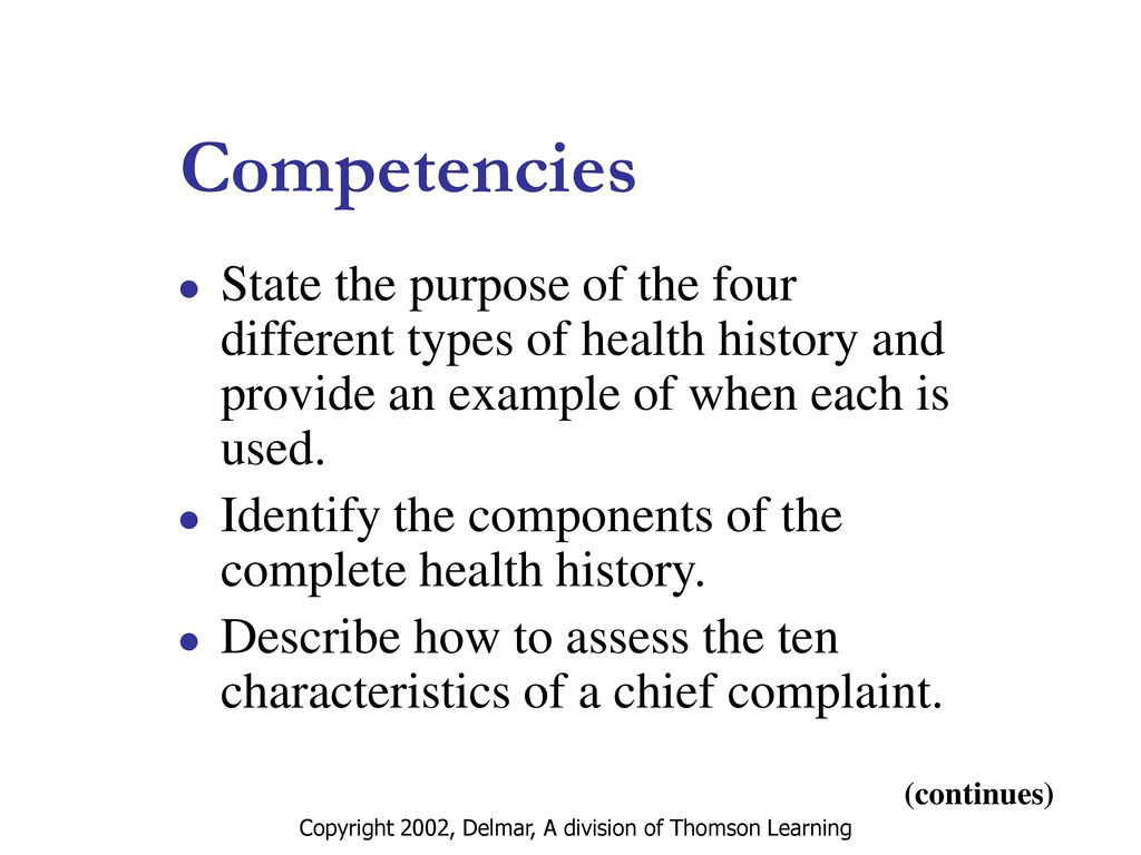 The Complete Health History Including Documentation - ppt