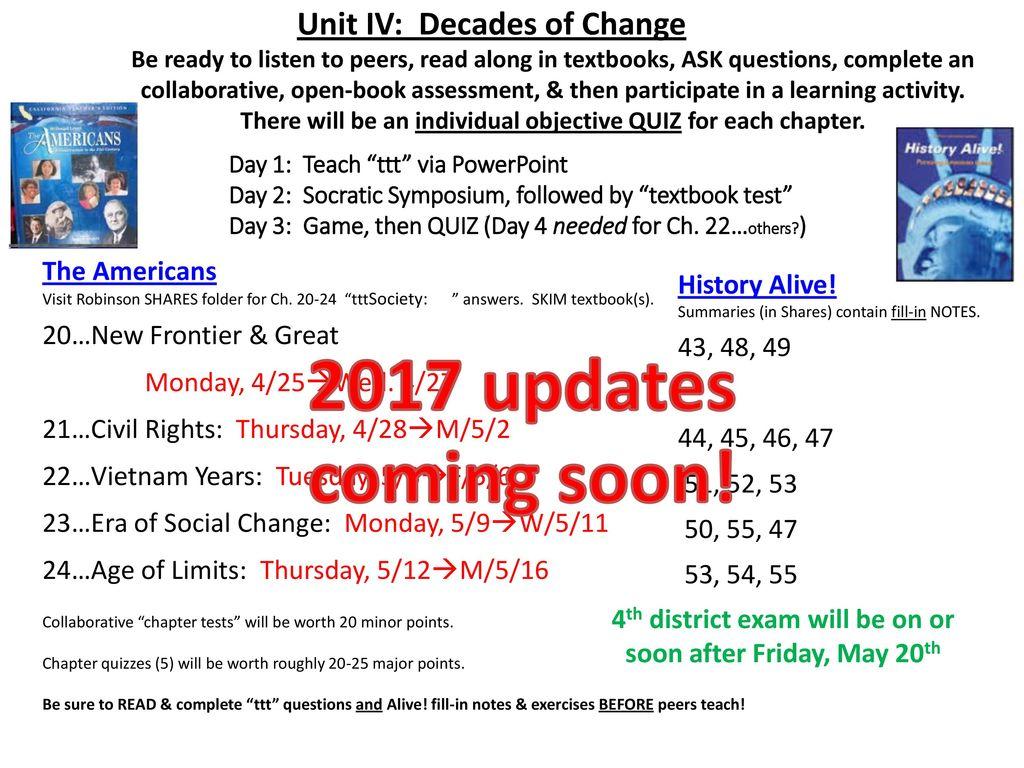 Unit IV: Decades of Change: 1950s (Ch  19