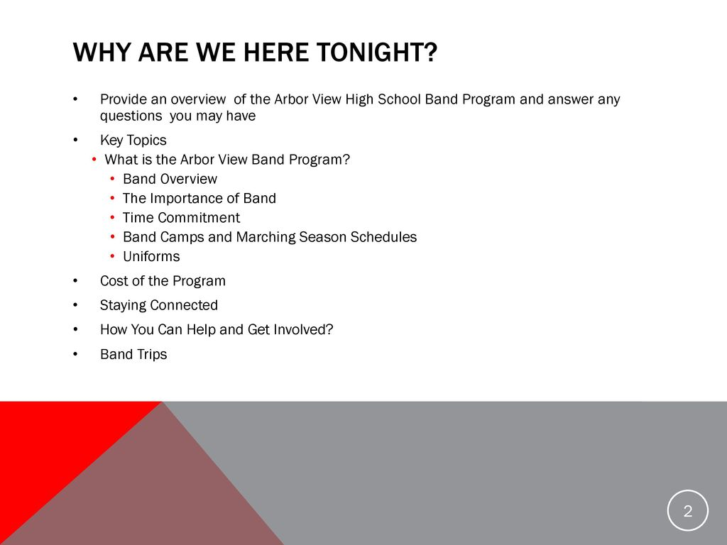 Welcome to the Arbor View High School Band Family! - ppt