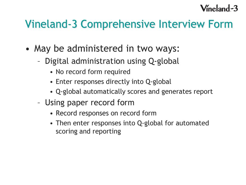 27 Vineland-3 Comprehensive Interview Form