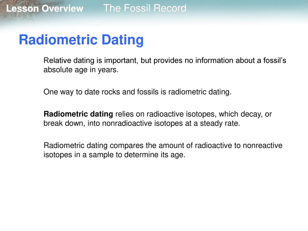 Relative and radioactive dating