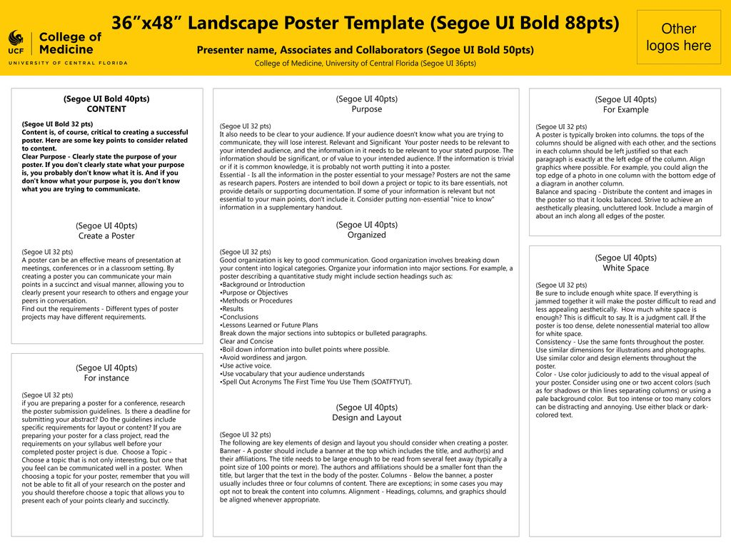36 x48 landscape poster template segoe ui bold 88pts ppt download