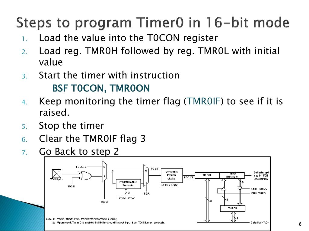 Steps to program Timer0 in 16-bit mode
