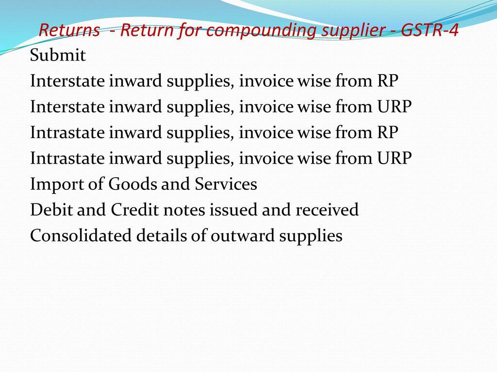 GST- Registrations, Tax Invoice, Accounts, Returns - ppt