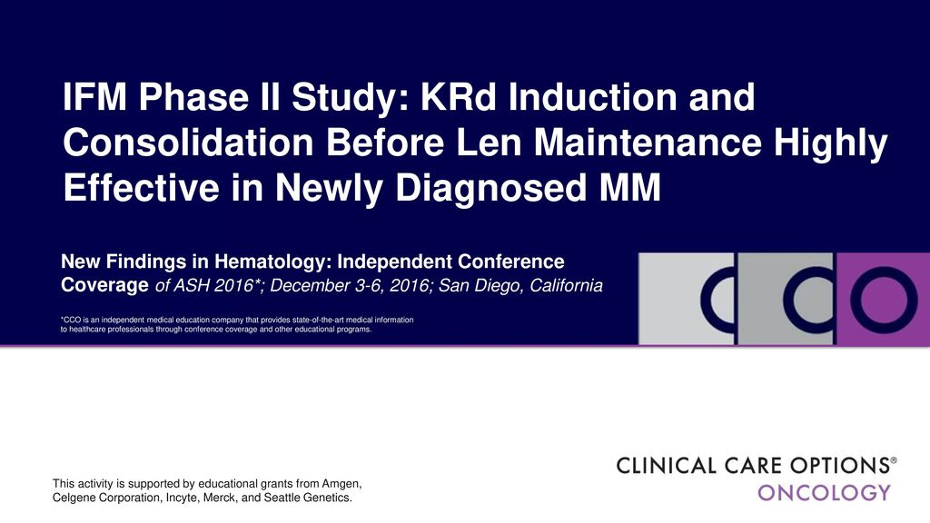 IFM Phase II Study: KRd Induction and Consolidation Before