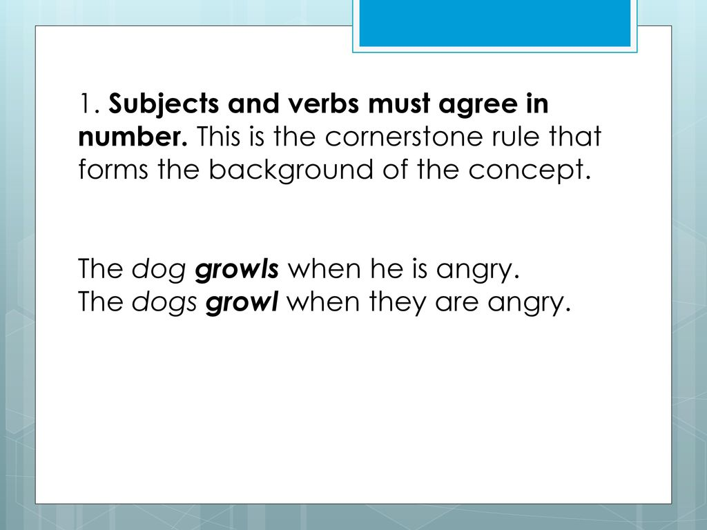 The 20 Rules Of Subject Verb Agreement In Standard English Ppt