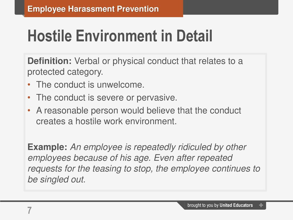employee harassment prevention workshop: a brief overview of the law