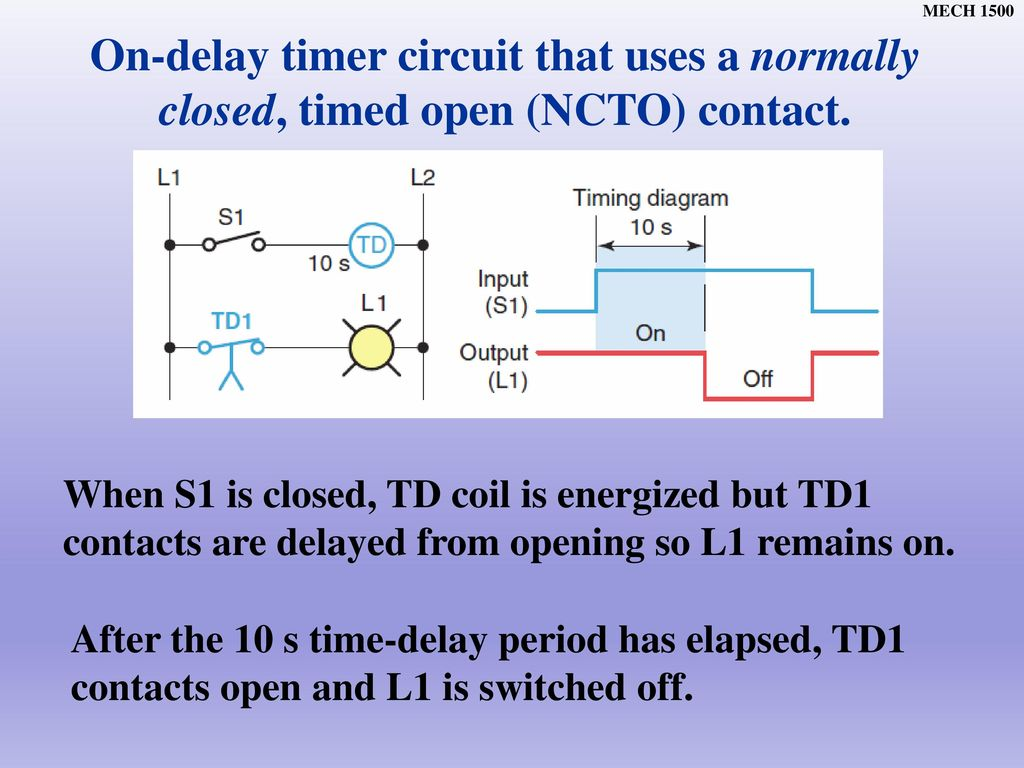 Normally Open On Delay Timer Circuit Diagram Block And Schematic Timing Chapter Ppt Download Rh Slideplayer Com Timed Led Circuits Ne555 Projects