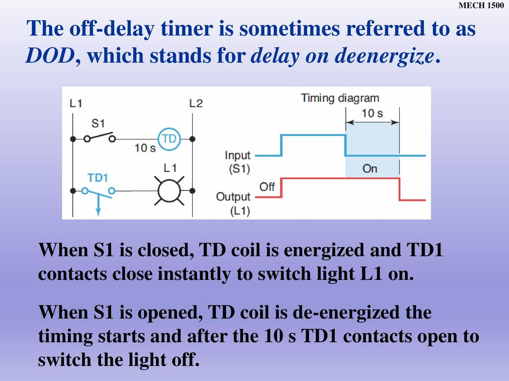 Chapter Ppt Download Wiring Diagram For Timer Off Delay On Lights The Is Sometimes Referred To As Dod Which Stands