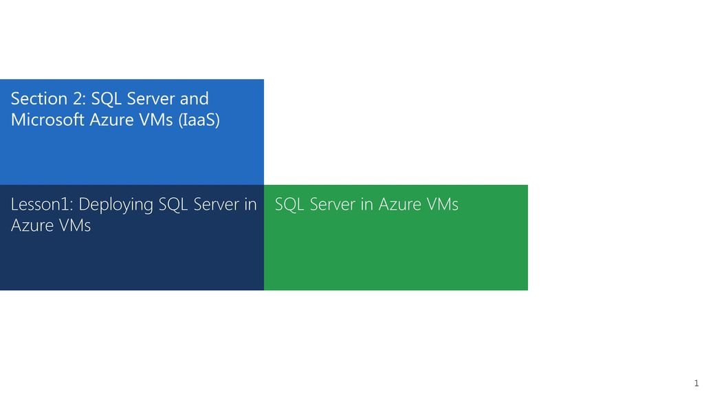 Section 2: SQL Server and Microsoft Azure VMs (IaaS) - ppt