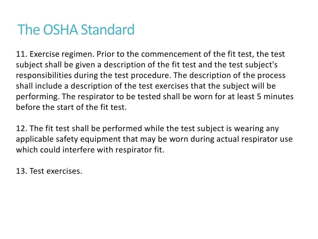 osha guidelines for mask fit testing