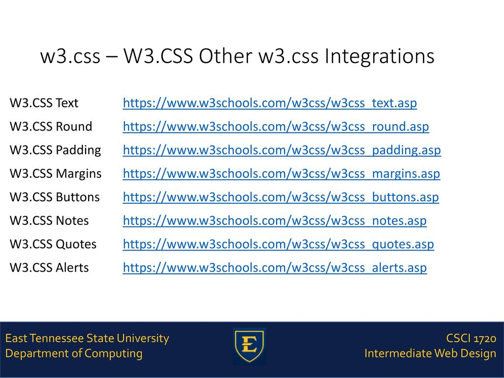 CSCI 1720 W3 CSS – Part 2 East Tennessee State University Department