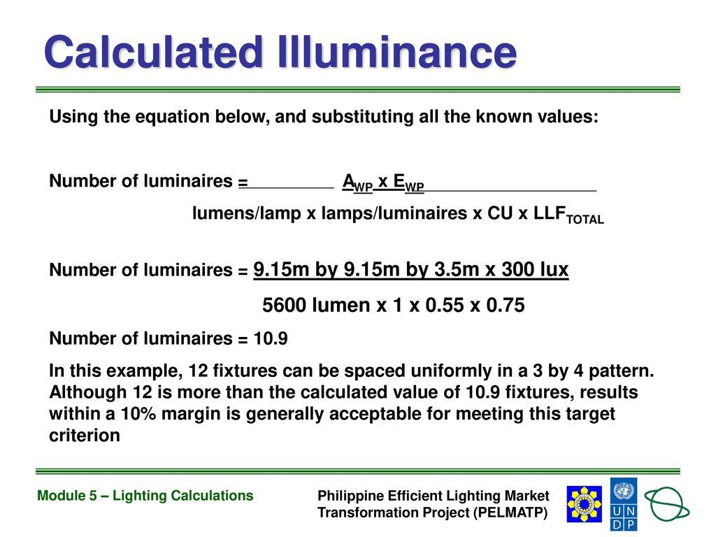Calculated illuminance