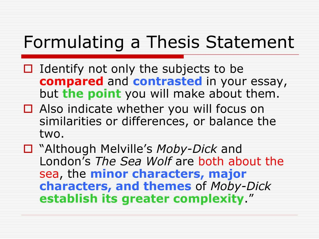 Need thesis statement for moby dick