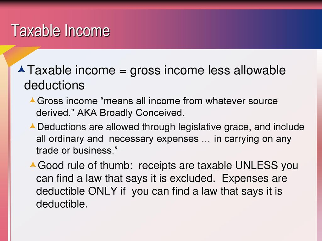 taxable income from business operations - ppt download