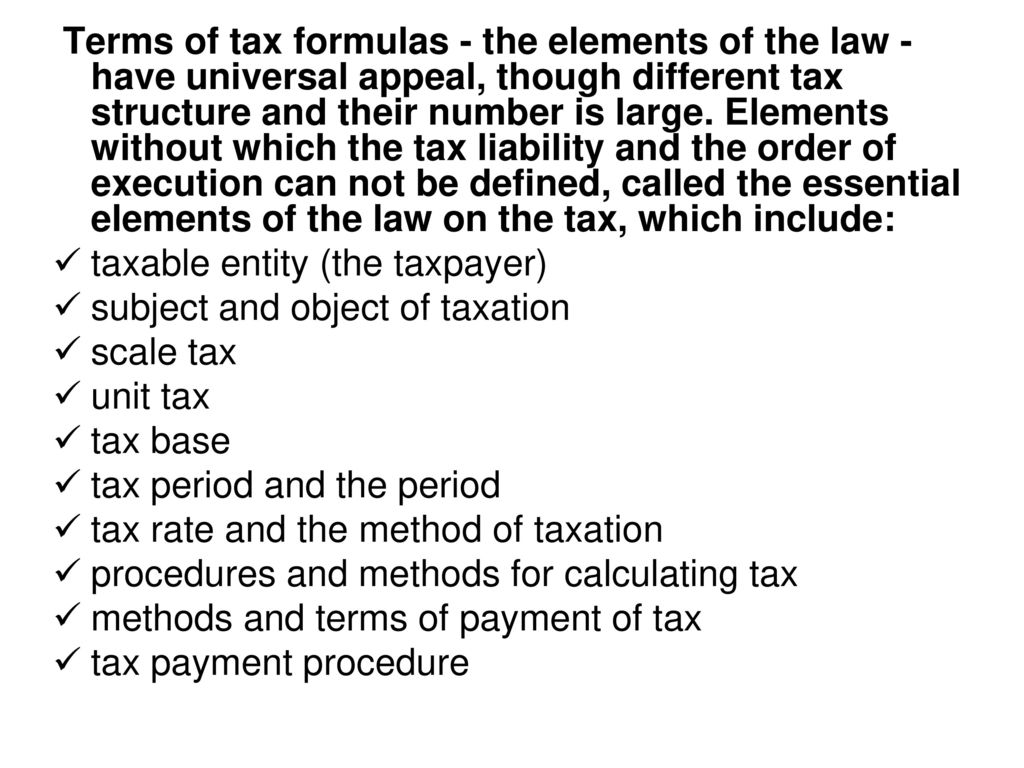 elements of tax law. - ppt download