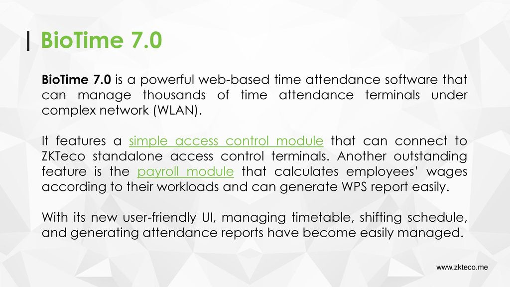 BioTime 7 0 Web-Based Time Attendance Software  - ppt video online