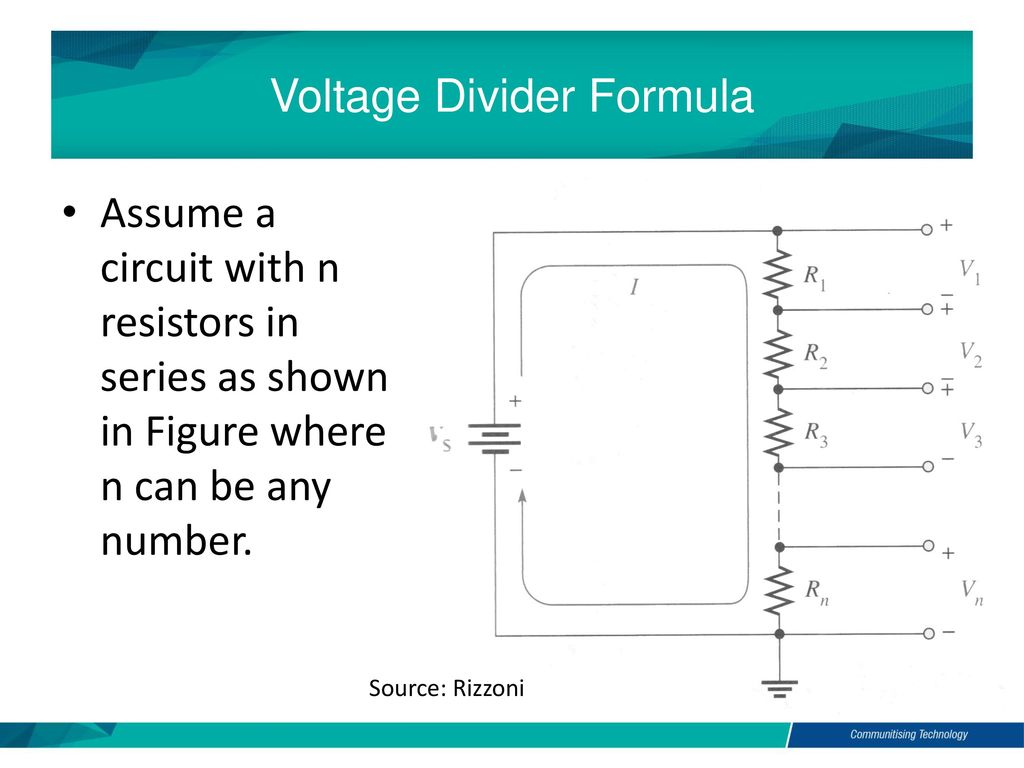 By Akhtar Razali Fkm Electric And Electronic Technology Chapter 2c Potential Divider Circuit Voltage Formula