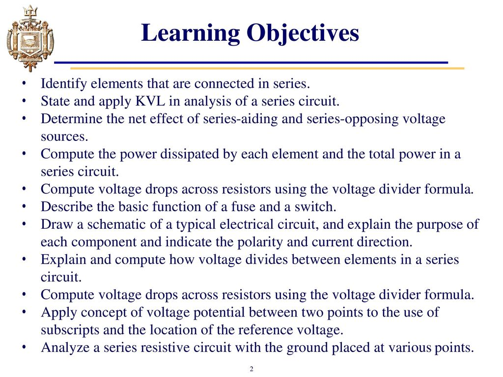 Lesson 4 Series Dc Circuits And Kirchhoffs Voltage Law Kvl Ppt Negative Reference Circuit 2 Basiccircuit Diagram Learning Objectives