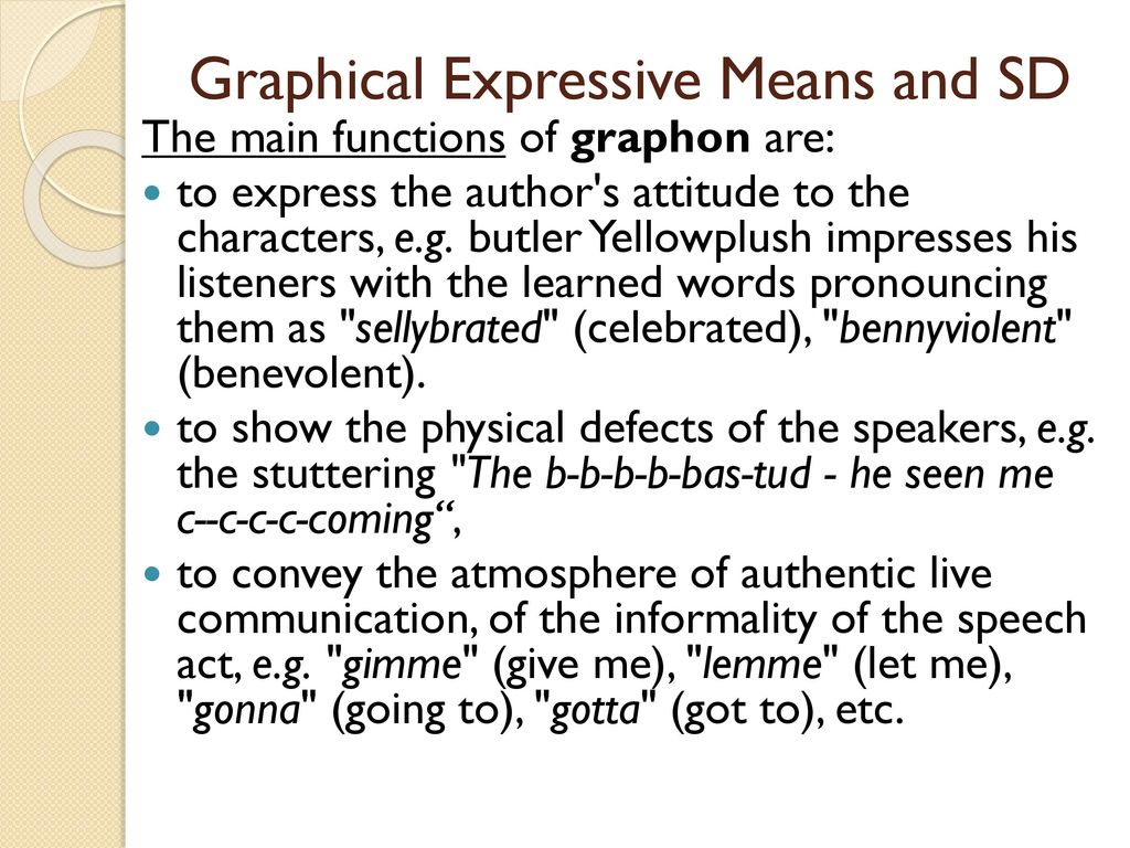 Figurative and expressive means of the language: a list with the name and description, examples 11