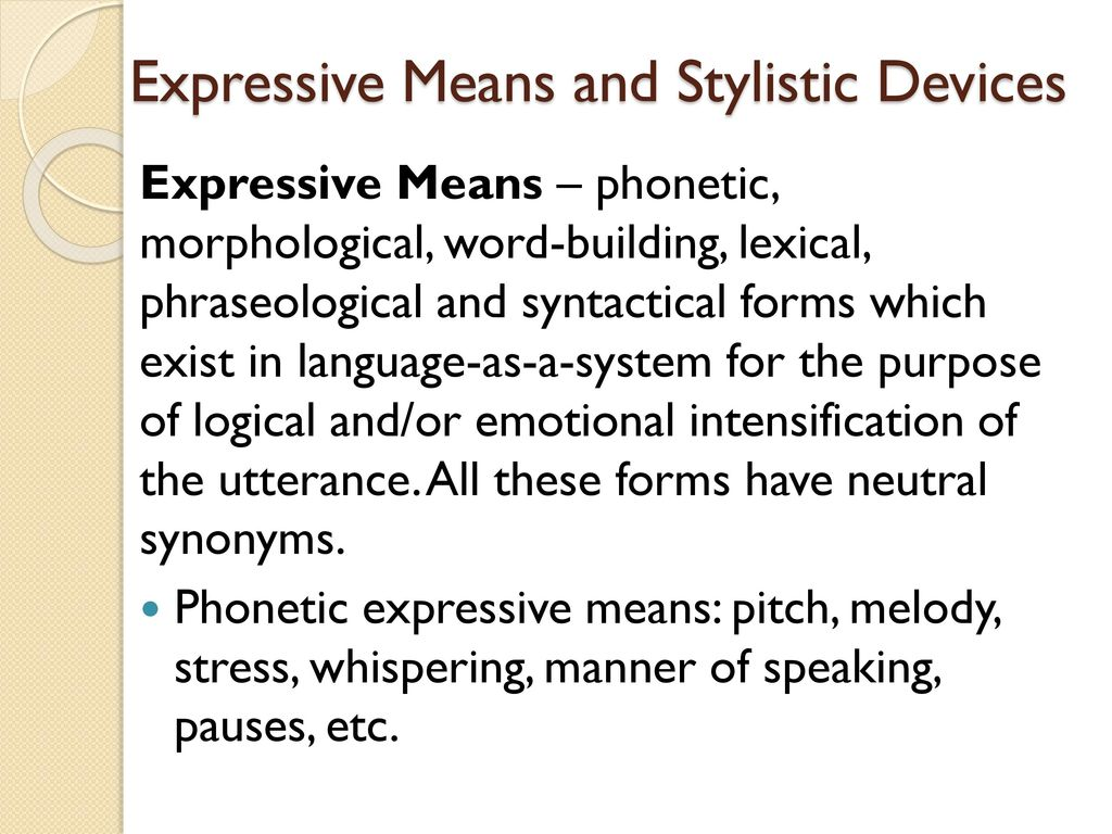 Figurative and expressive means of the language: a list with the name and description, examples 82