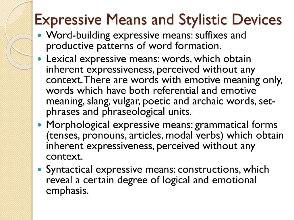 Figurative and expressive means of the language: a list with the name and description, examples 78