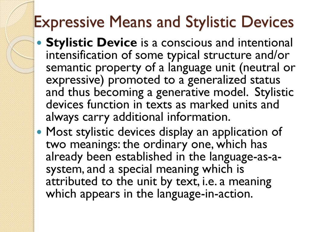 Figurative and expressive means of the language: a list with the name and description, examples 95