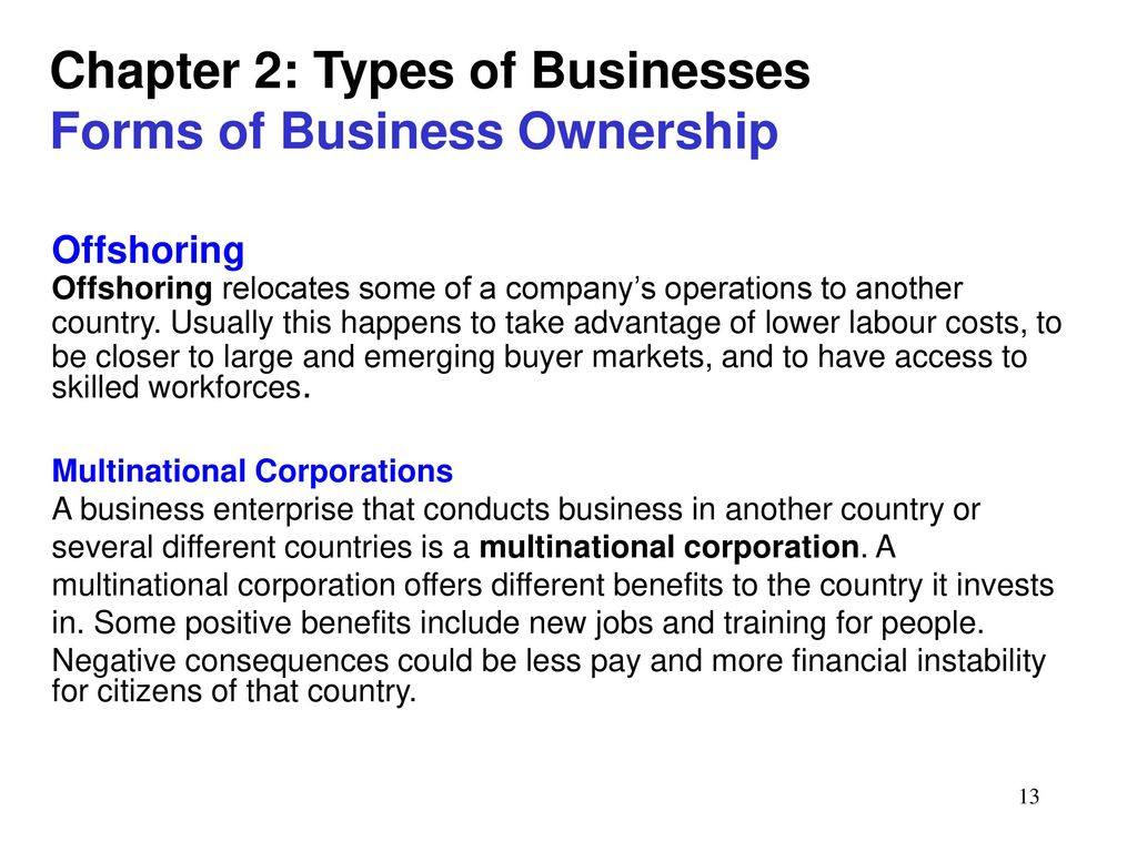 The main types and forms of ownership 95