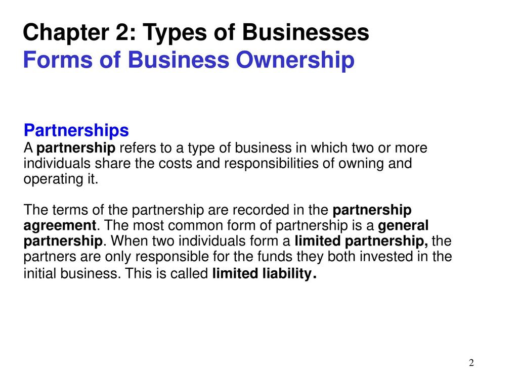 The main types and forms of ownership 94