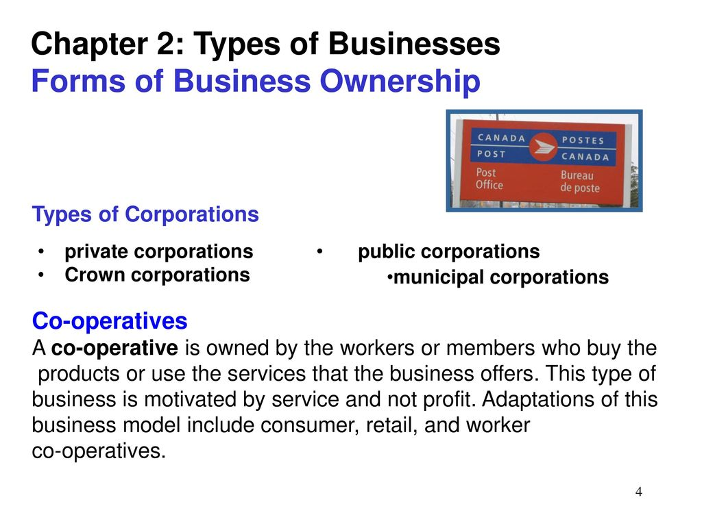 The main types and forms of ownership 14