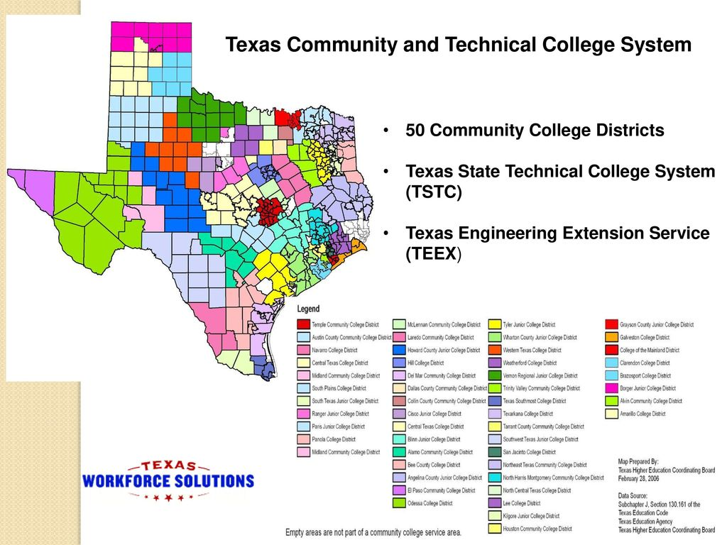 Map Of Texas Junior Colleges.Texas Workforce Commission Ppt Download