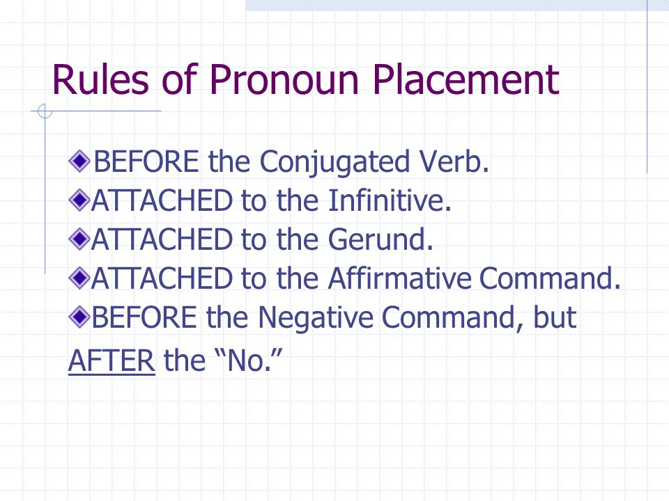 Rules of Pronoun Placement