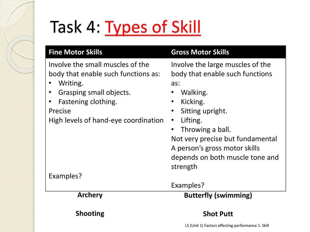 types of gross motor skills