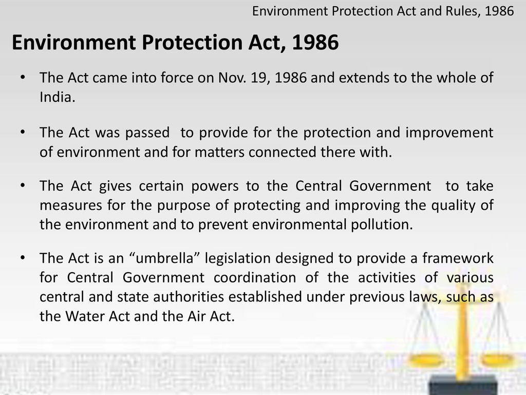 Enviornmental protection act 1986 ( india ) |authorstream.